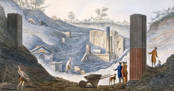 Ashes Drawing - Early Excavations At Herculaneum by Pietro Fabris