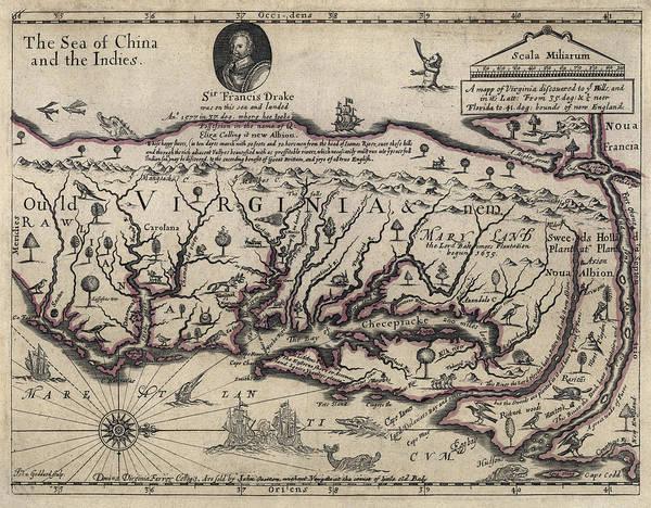 Norfolk Virginia Wall Art - Photograph - Early Hand-drawn Virginia Map - 1647 by Daniel Hagerman