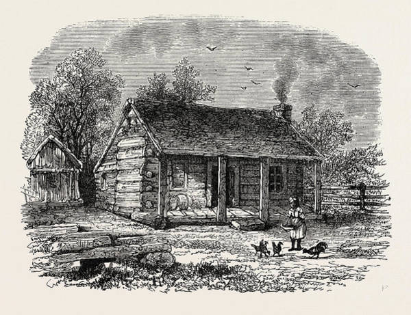 Early American History Drawing - Early Home Of Abraham Lincoln, Gentryville by American School