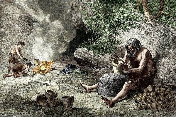 Clay Photograph - Early Humans Making Pottery by Sheila Terry