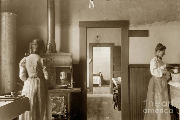 Photograph - Early Kitchen With A Wood Kitchen Stove Circa 1906 by California Views Archives Mr Pat Hathaway Archives