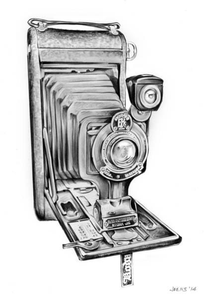 Camera Wall Art - Drawing - Early Kodak Camera by Greg Joens