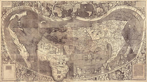 Library Photograph - Early Map Of The World by Library Of Congress/science Photo Library