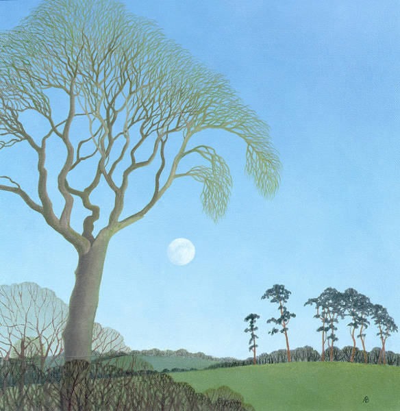 English Countryside Photograph - Early Moon, 2007 Oil On Canvas by Ann Brain