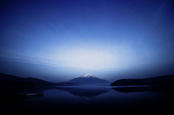 Mounted Photograph - Early Morning Blue Symbol by Takashi Suzuki