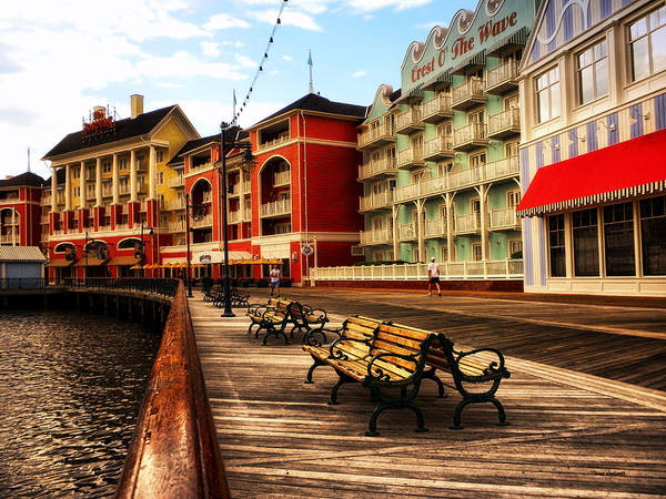 Wall Art - Photograph - Early Morning Jogging On The Boardwalk Walt Disney World by Thomas Woolworth