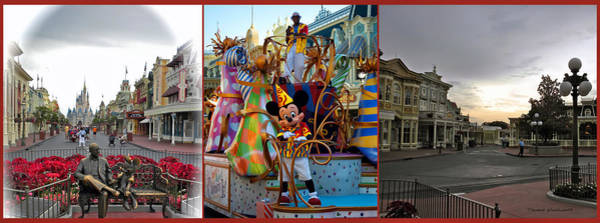 Wall Art - Photograph - Early Morning Main Street With Mickey Walt Disney World 3 Panel Composite by Thomas Woolworth