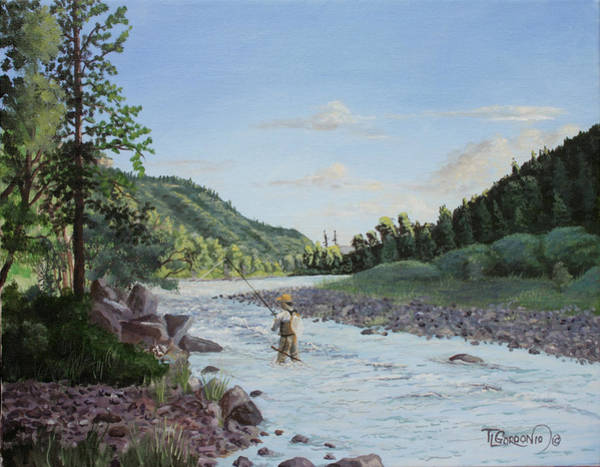 Fly Fishing Painting - Early Morning On The Dolores by Timithy L Gordon