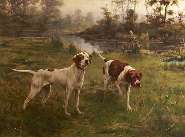 Field Spaniel Painting - Early Morning Pointers by Percival Leonard Rosseau