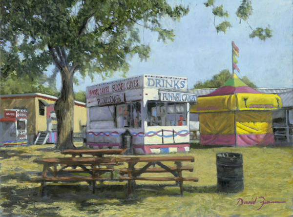 County Fair Painting - Early Morning Setup by David Zimmerman