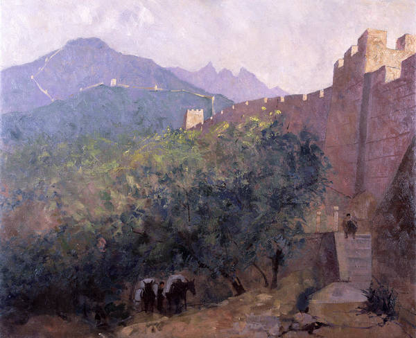 Wonders Of The World Photograph - Early Morning - The Great Wall, 1998 Oil On Canvas by Bob Brown