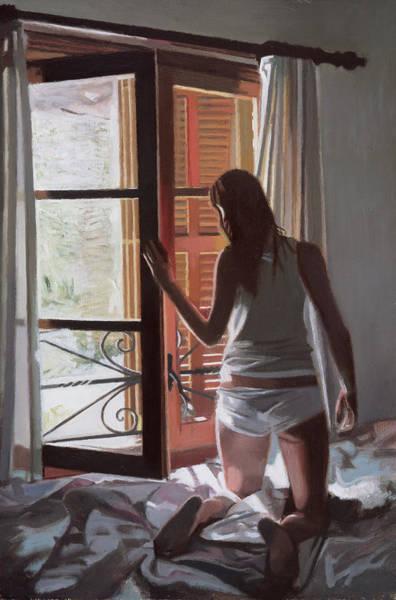 Window Dressing Wall Art - Painting - Early Morning Villa Mallorca by Gillian Furlong
