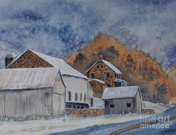 Barn Snow Painting - Early Snow by John W Walker
