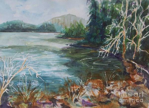 Print On Demand Wall Art - Painting - Early Spring Hike At North-south Lake by Ellen Levinson
