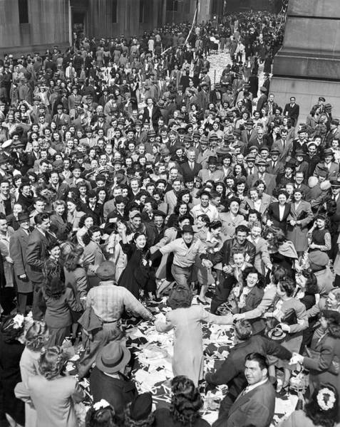 Joyous Photograph - Early Ve-day On Wall Street by Underwood Archives