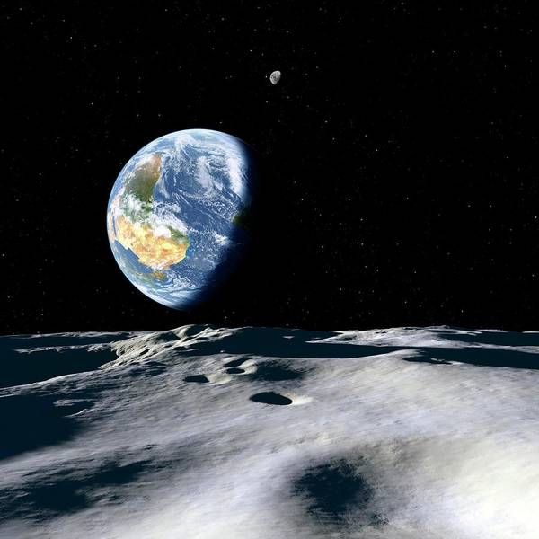 Near Earth Object Photograph - Earth And Asteroid by Detlev Van Ravenswaay