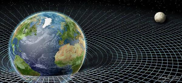 Earth Orbit Photograph - Earth And Moon And Space-time by Nicolle R. Fuller/science Photo Library