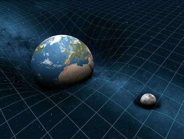 Dent Photograph - Earth And Moon Warping Space by Mark Garlick/science Photo Library