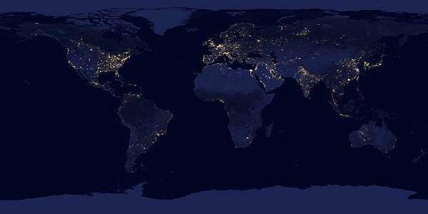 Suomi Photograph - Earth At Night, Satellite Image by Science Photo Library