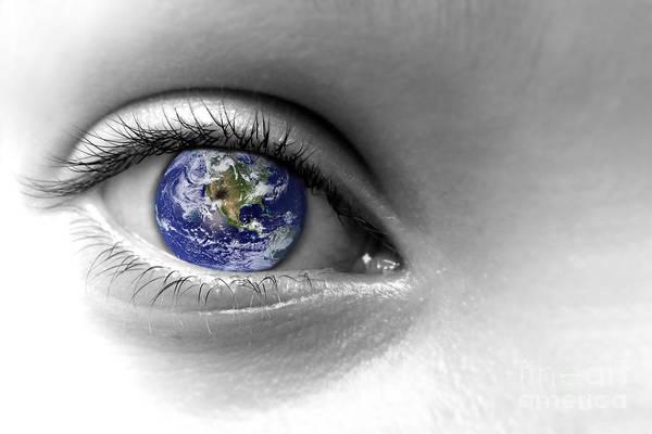 Blue Eye Digital Art - Earth Eye by Delphimages Photo Creations