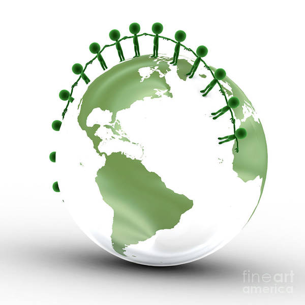 Little Planet Digital Art - Earth Globe And Conceptual People Together by Michal Bednarek