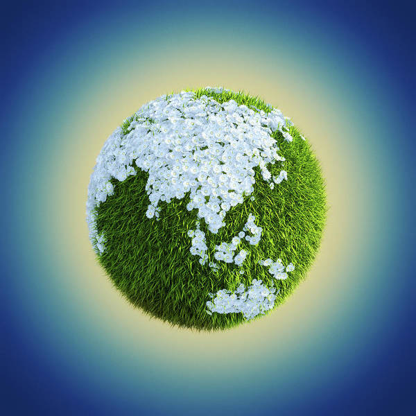Freshness Digital Art - Earth Globe Made Of Grass And Flowers by Maciej Frolow