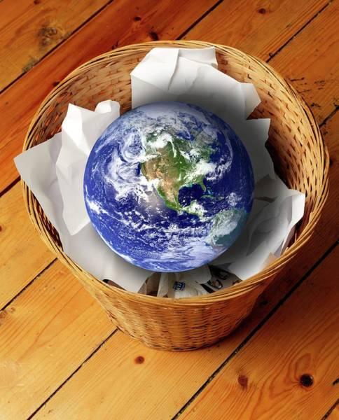 Rubbish Bin Photograph - Earth In Bin by Victor De Schwanberg