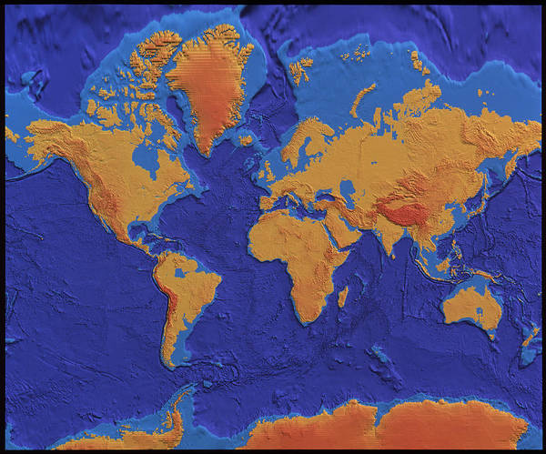 Cartography Photograph - Earth Topography by Nrsc Ltd/science Photo Library