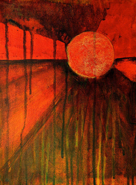 Red Moon Painting - Earth Watch by Nancy Merkle