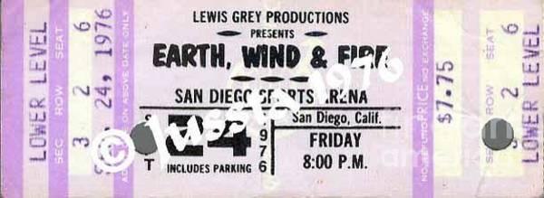 Wall Art - Photograph - Earth Wind Fire San Diego Sports Arena Ticket September 24 1976 by Jussta Jussta