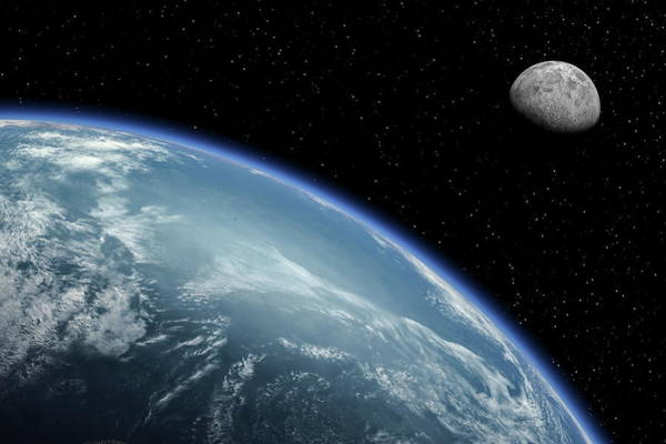 Majestic Digital Art - Earth With Cloud Cover And Moon by Bjorn Holland