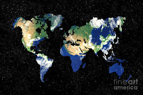 Cartography Photograph - Earth World Map by Delphimages Photo Creations