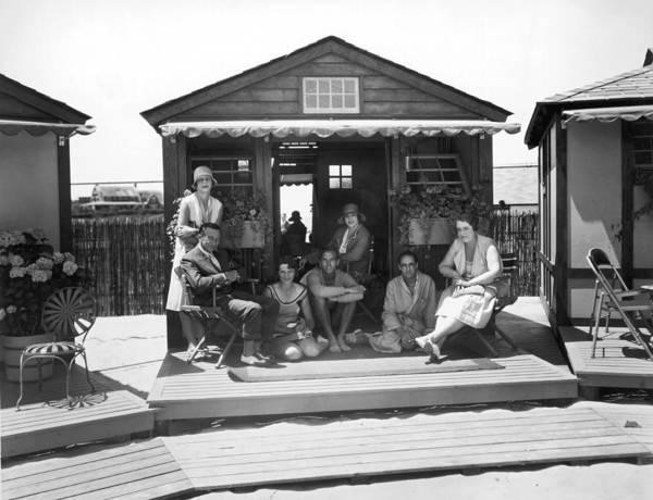Narragansett Photograph - East Coast Seaside Cabana by Underwood Archives