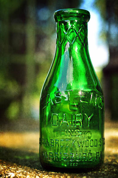 Photograph - East End Dairy Green Milk Bottle by Rebecca Sherman