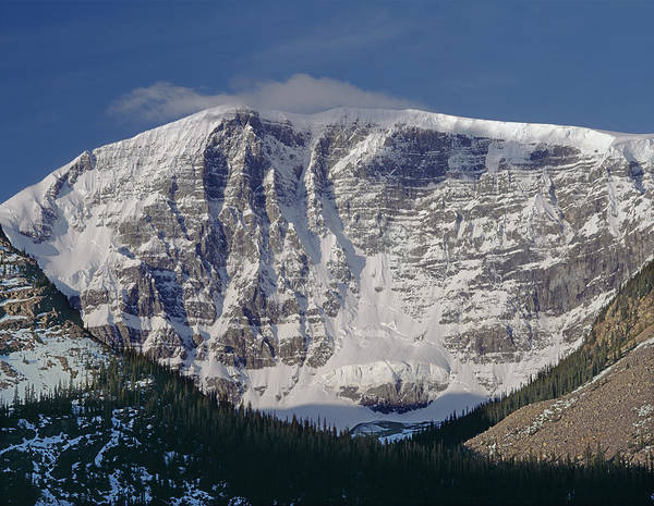 Photograph - 1m3743-east Face Mt. Kitchener With Cloud by Ed  Cooper Photography