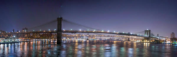 Photograph - East River Crossings At Night by Theodore Jones