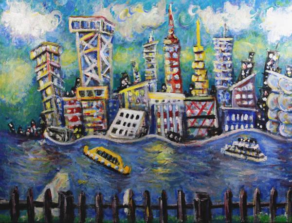 Wall Art - Painting - East River Nyc by Jason Gluskin