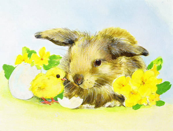 Broken Egg Painting - Easter Bunny With Primrose And Chick by Diane Matthes