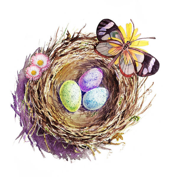 Painting - Easter Colors Bird Nest by Irina Sztukowski