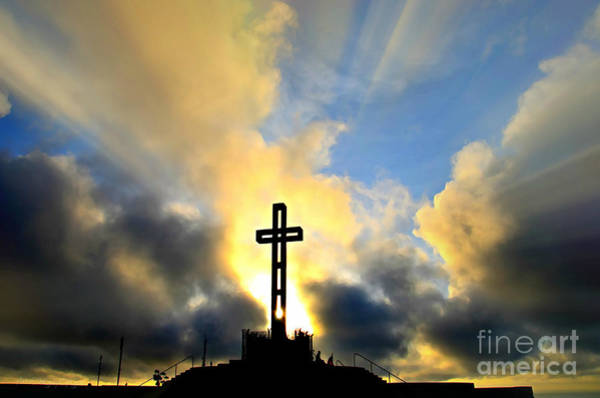 Photograph - Easter Cross - Digital Paint Effect by Sharon Tate Soberon