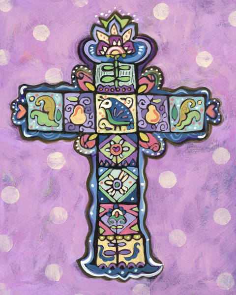 Wall Art - Painting - Easter Cross On Orchid by Jen Norton