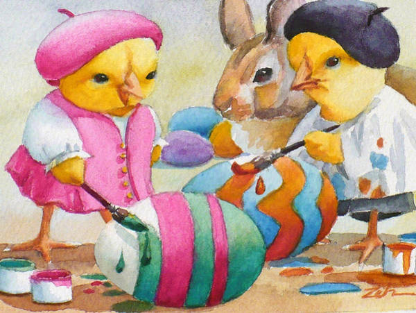 Painting - Easter Egg Artists by Janet Zeh