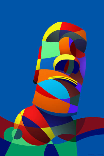 Digital Art - Easter Island Blue by Randall Henrie
