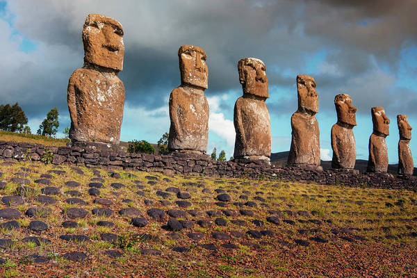 Stone Carving Photograph - Easter Island, Chile by Janet Muir