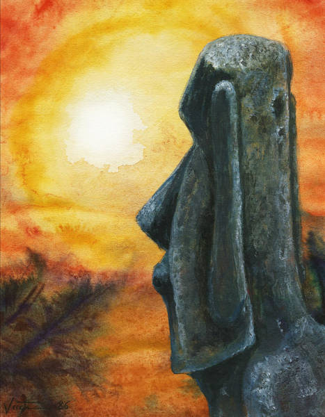 Painting - Easter  Island  Enigma by Hartmut Jager