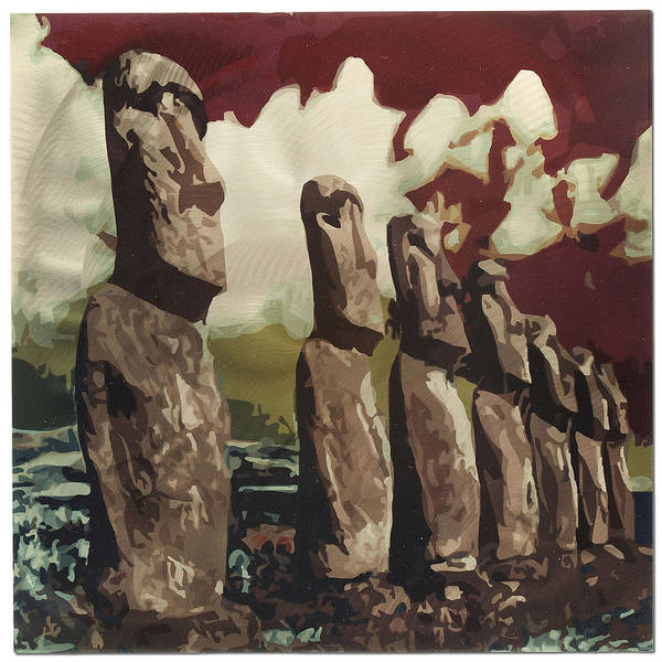 Land Mark Mixed Media - Easter Island by Metal Art Studio