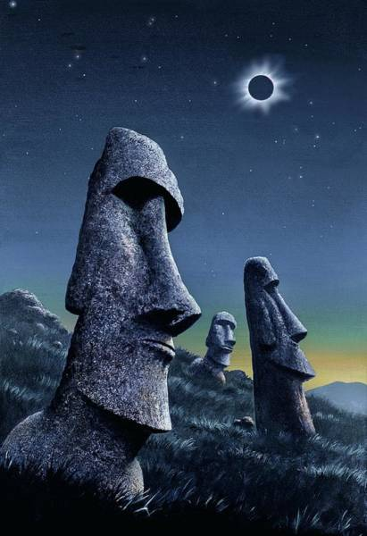 Totality Photograph - Easter Island Total Solar Eclipse by David A. Hardy/science Photo Library