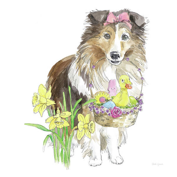 Border Collie Painting - Easter Pups II by Beth Grove