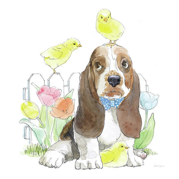Basset Wall Art - Painting - Easter Pups V by Beth Grove