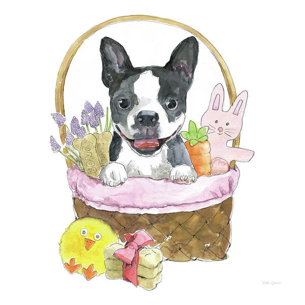 Bone Painting - Easter Pups Vii by Beth Grove